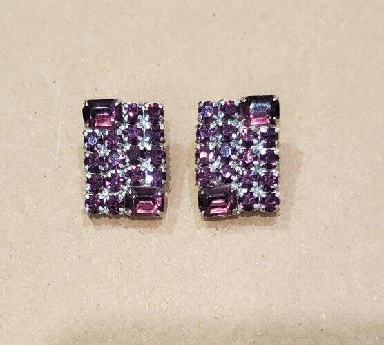 Vintage Purple Rhinestone Square Clip On Earrings