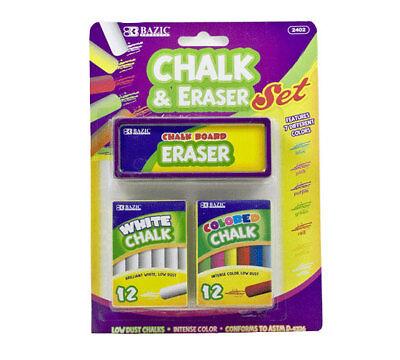 BAZIC 12 Color & 12 White Chalk w/ Eraser Set for school art craft