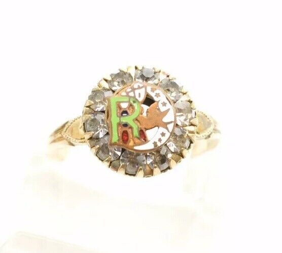 Clark & Coombs Victorian Gold Filled Paste Rhinestone Ring Crescent Moon Bird R