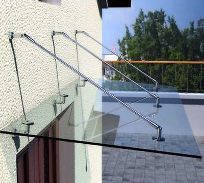 Glasvordach Klarglas 300 x 90 x 1.6 cm Vordach VSG Glas 16mm - V2A Zubehör
