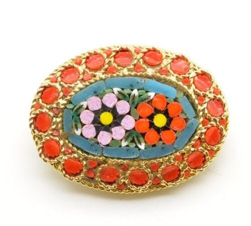 Vintage Millefiori Micro Mosaic Round Brooch Pin Floral Decor Flowers