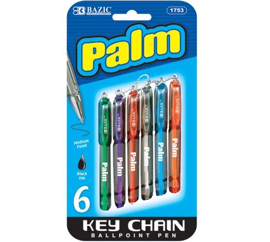 Bazic 6 pcs/pack Palm Mini Ballpoint Pen with Key Ring, Assorted color #1753