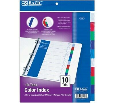 Bazic Single File Folder W 3-ring Binder Dividers With 10-color Tabs Pack Of 24