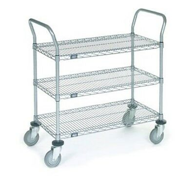 Nexel 3 Wire Shelves Utility Cart Polyurethane Wheel Casters 24w X 42l
