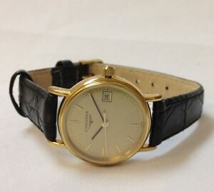 Longines vintage l4 136 2 32 2 gold plated ss black leather strap ladie 039 s watch ebay for Longines leather strap