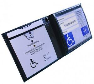 New Black Disabled Parking Permit Holder Badge Safe Blue Hologram Display Cover