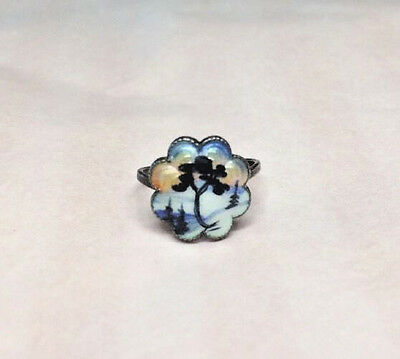 Vintage Ivar Holth Norway Sterling Silver Enamel Adjustable Ring