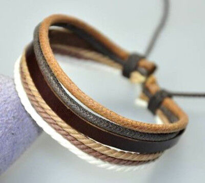 Cool Surfer R/&B Genuine Leather Hemp Braided Bracelet Wristband Black /& Blue