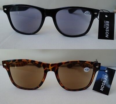 2in1 Sonnenbrille mit Sehstärke Sonnenlesebrille Nerd mit Federbügel -