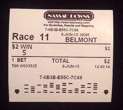 $2 WIN TICKET AMERICAN PHAROAH 2015 BELMONT STAKES Triple Crown Uncashed