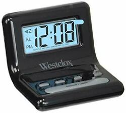 Westclox Digital LCD Alarm Clock Battery Operated 4 Minute Snooze Blue Backlight