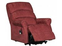 AUGUSTA LUXURY FABRIC BRAND NEW ELECTRIC DUAL MOTOR RISER RECLINER CHAIR (WINE)