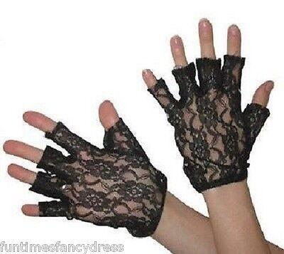 1980's Black Lace Madonna Fingerless Gloves 80's Retro Disco Fancy Dress