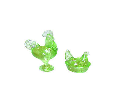 Dollhouse Miniature Clear Green Rooster and Hen on the Nest for 1:12 Doll House