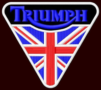 """TRIUMPH EMBROIDERED PATCH~4""""x 4-1/4"""" MOTORCYCLE CAFE RACER ROCKETIII T120 TIGER"""