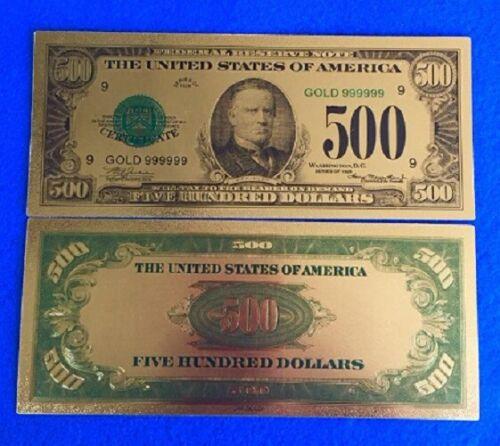 ☆MINT UNC. COLLECTIBLE  Gold Foil $500 Banknote