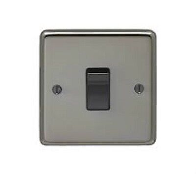 Eurolite Black Nickel 10A Single Light Switch 1-Gang 2-Way