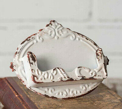 Distressed White Chippy Business Card Holder - Shabby Chic Vintage Style