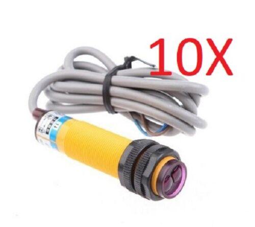 10 pcs Photoelectric sensor 18mm tubular 10cm range PNP NO 6-36VDC PST18-CP13-C1