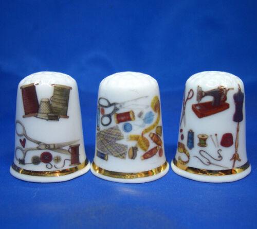 Birchcroft China Thimbles -- Set of Three -- Sewing Scissors