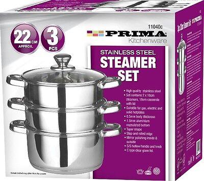 22CM 3PC STAINLESS STEEL STEAMER COOKER POT SET GLASS LIDS 3 TIER PAN COOK FOOD