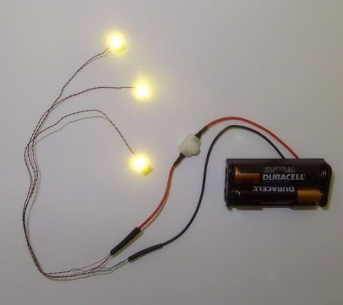 Dollhouse Battery Operated Three Warm White Mega LED - Miniature Lighting