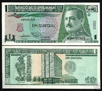 GUATEMALA 1 QUETZAL P73 1992 STYLIZED BIRD BANK UNC CURRENCY MONEY ANIMAL NOTE
