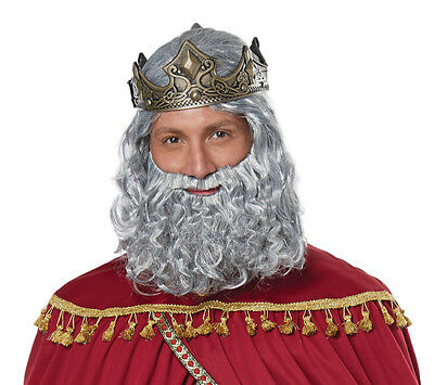 Wise Men King Melchior Biblical Adult Men Costume Wig and Beard (King Wig)