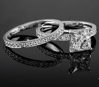 Natural 1.60 Ct Princess Cut Round Accents Diamond Bridal Set F,VVS1 GIA 14K