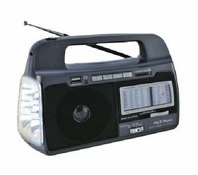 SuperSonic AM FM Shortwave SW1-7 Radio Torchlight SD Slot USB Input AC or DC