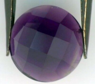 BRAZILIAN AMETHYST 12 MM ROUND ROSE CUT CHECKERBOARD TOP ALL NATURAL