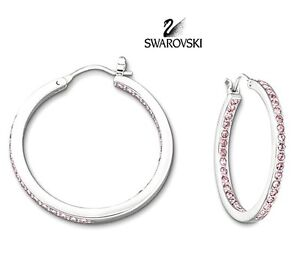 Swarovski Pink medium size hoop earrings