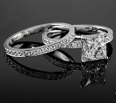 Real 2.11 Ct Princess Cut Diamond Engagement Bridal Ring Set F,VS1 GIA 18K WG
