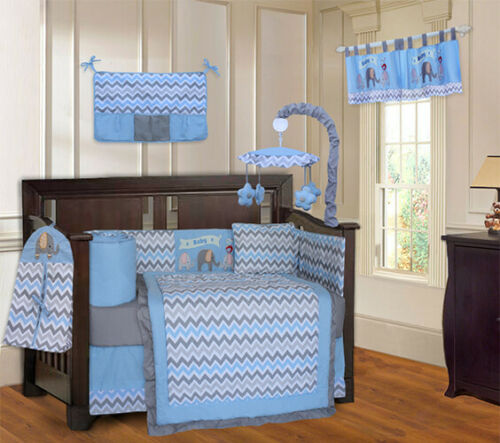 BabyFad 10 Piece Elephant Blue Baby Crib Bedding set