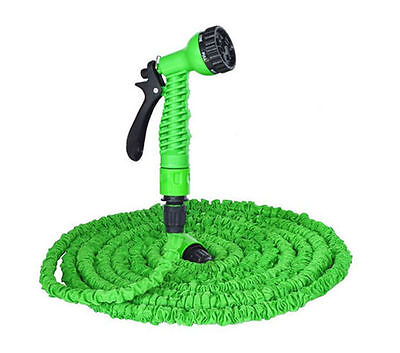 50FT  EXPANDING GARDEN WATER PIPE HOSE SPRAY HEAD NOZZLE BRAND NEW