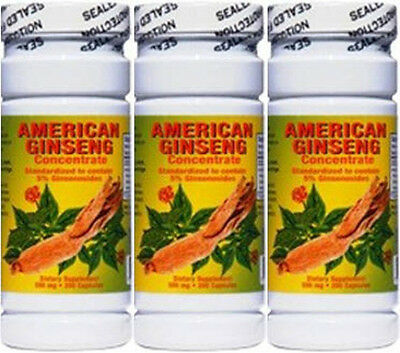 3x American Ginseng Concentrate, 200 Caps x3 = 600 Caps, 500mg, Great Value!