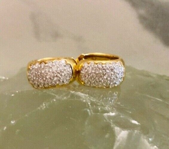 Vintage stamped 18 kt yellow gold diamond pave hoops.