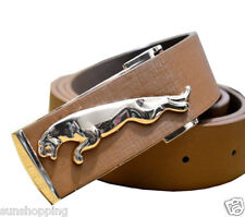 Non leather brown men adjustable buckle belt with self textured