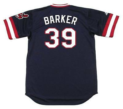 - LEN BARKER Cleveland Indians 1982 Majestic Cooperstown Throwback Away Jersey