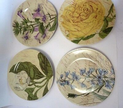 Pier 1 Imports Botanical Plate SET OF 4 PLATES in Gift Box Floral Spring Summer