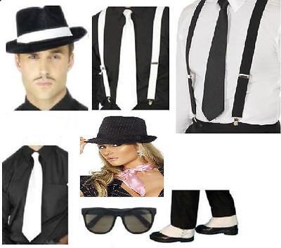 Womens Gangster Costume Accessory Kits Hat Tie Spats Braces Fancy Dress Hen Fun