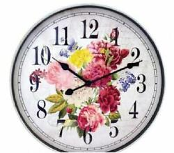 Westclox 12 Round Pretty Floral Wall Clock BatteryOperated Ships from US Seller