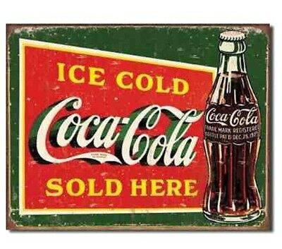Ice Cold Coca Cola Tin (COCA COLA VINTAGE AD ICE COLD SOLD HERE METAL Tin SIGN WEATHERED LOOK COKE)