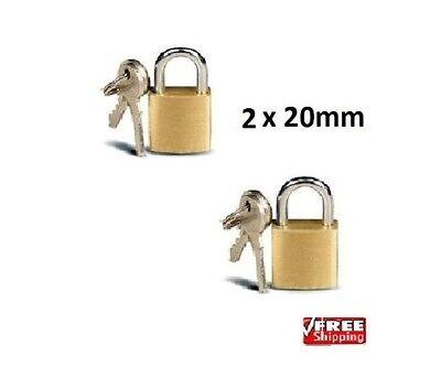 2 X Brass Padlocks Mini Pad Locks Suitcase Luggage Pad Lock 2 Keys per Lock 20mm