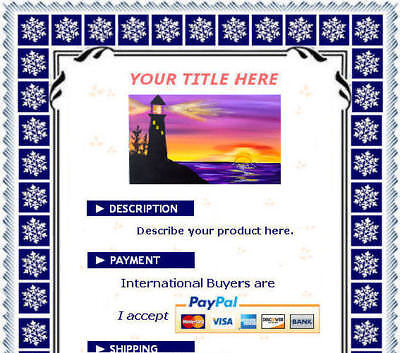 AUCTION TEMPLATE Snowflakes Design Border - FREE Shipping - $2.49