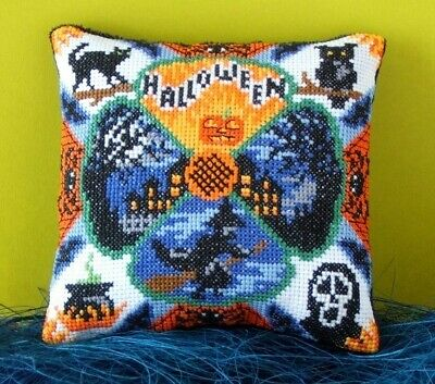 Halloween Night Mini Cushion Cross Stitch Kit, Sheena Rogers Designs