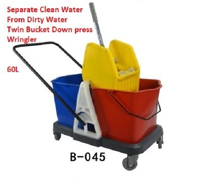 Twin Commercial Mop Bucket Wringer 60l 15- Gal Yel Blue Red Down Press