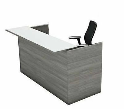 Amber Reception Office Desk Shell With Glass Counter - Valley Grey