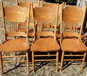 4 XL Antique HARVEST TABLE Chairs Pressed Back Vintage