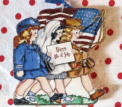 Glittered Wooden Patriotic July 4th~Ornament~Girls in Uniform~Vintage Card Image